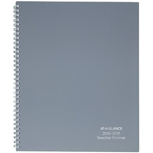 AT-A-GLANCE 2018-2019 Academic Year Weekly & Monthly Teacher Planner, Large, 8-1/2 x 11, Wirebound, Gray (TP905A07)