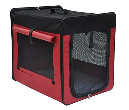 Captain-Pet-Light-Weight-Foldable-Pet-Soft-Sided-Carrier-600D-Oxford-Cloth-Dog-Crate-RedM2992Lx2205Wx2402H
