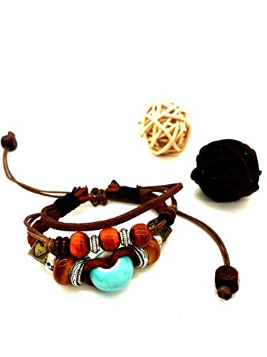 Rihan Adjustable Bohemian Handmade Ceramic Beads Leather Ceramic Bracelet (blue bead)