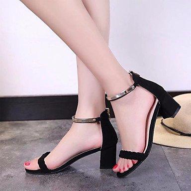 LvYuan Mujer Sandalias Tejido Primavera Verano Paseo Tacón Robusto Negro Rosa 2'5 - 4'5 cms Black