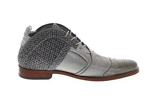 Fb Mode Laarzen Afkickkliniek Kurt Ii Checker Grijs Lederen Schoenen Voor Mannen Grijs Veterschoenen Lichtgrijs