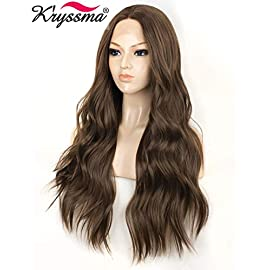 K'ryssma Fashion Brown Lace Front Wigs for Women Long Wavy Synthetic Wig Middle Parting Heat Resistant Glueless Brown…