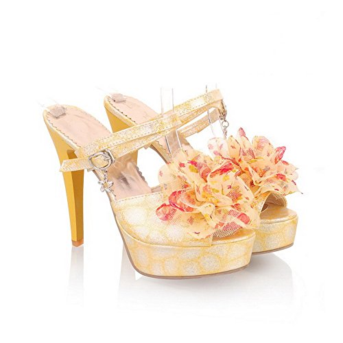 VogueZone009 Womens Open Peep Toe High Heel Platform Stiletto PU Printing Sandals with Flower, Yellow, 4.5 UK