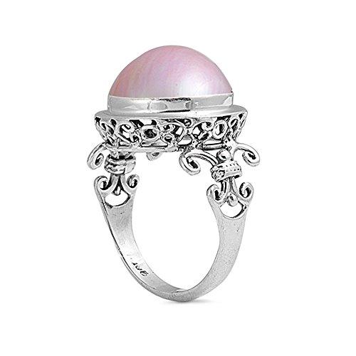 .925 Sterling Silver Fleur-de-lis Simulated Pink Mabe Pearl Ring Pink Mabe Pearl Ring