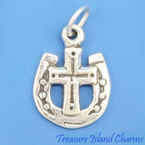Wave Cross Silver Sterling Solid (Lucky Horseshoe with Cross 925 Solid Sterling Silver Charm Pendant Crafting Key Chain Bracelet Necklace Jewelry Accessories Pendants)