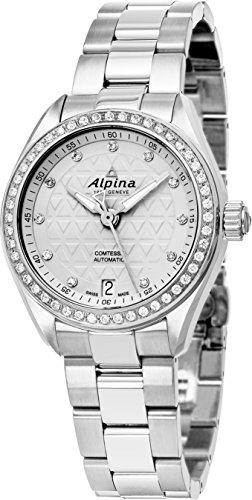 Alpina Comtesse Sport Automatic Womens Stainless Steel Swiss Watch - 34mm Silver Face Diamond Automatic Watch AL-525STD2CD6B