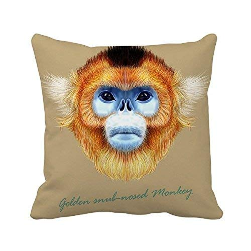 Snub-Nosed Monkey Animal Square Throw Pillowcase Cover Family Friends Cushion Cover Home Sofa Decor Gift 18 x 18 inches. ()