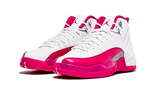 Jordan Kid's Air 12 Retro GG, WHITE/VIVID PINK-METALLIC SILVER, Youth Size 6 by NIKE