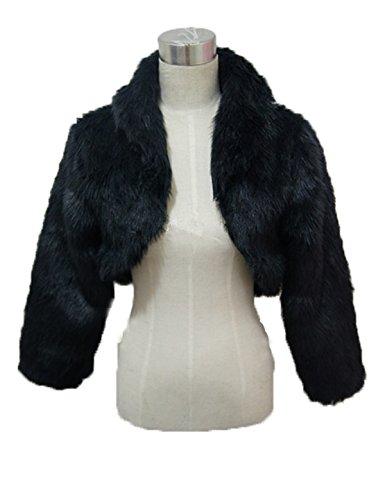YIYUANCHENGYIN Long Sleeve Faux Fur Wedding Bridal Jacket Bolero (black) - Faux Fur Bolero Jackets