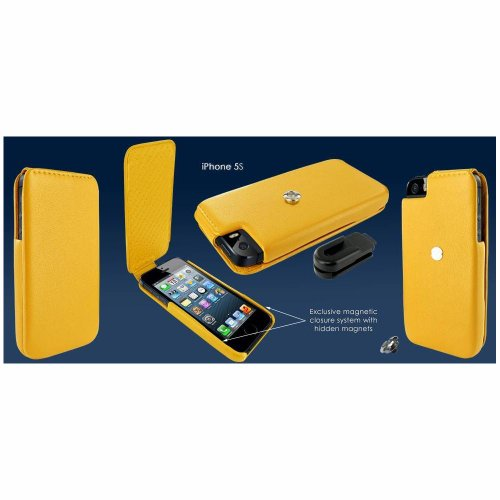Piel Frama U594Y iMagnum Ledertasche mit Magnetverschluss für Apple iPhone 5/5S gelb