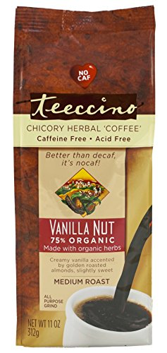 Teeccino Vanilla Nut Chicory Herbal Coffee Alternative, Caffeine Free, Acid Free,  11 Ounce (Pack of 3)