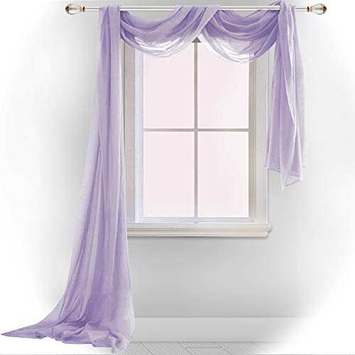DONREN Lavender Purple Luxury Semi Sheer Window Scarf for Outdoor Decoration - Add Beautiful Elegant Effect to Curtain Drapes (1 Panel 52 by 216 Inch) (Lilac Valance Curtains)