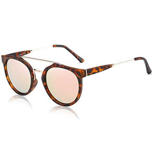 d2914d952a7 SojoS Modern Double Metal Bridge Crossbar Round Unisex Sunglasses SJ2032  With Matte Demi Frame Pink