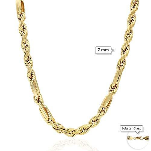 10K Yellow Gold Diamond Cut 4-8mm Milano Hollow Figaro Rope Chain 20-32