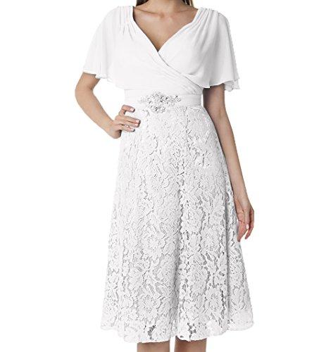 Festlichkleider Kurzarm Weiß V Knielang Partykleider Damen Brautmutterkleider Ausschnitt Charmant Spitze Abendkleider w78fxtvaq