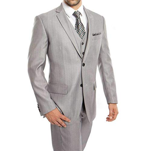 Mens Light Grey Herringbone 3 Piece 2 Button Classic Fit Suit New(54R/48Waist ()