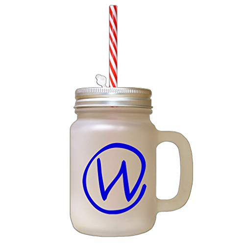 (Style In Print Royal Blue W Clipart Initial Monogram Letter W Frosted Glass Mason Jar with Straw )