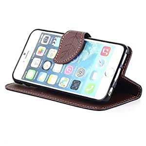 PG Fashion Leaf Button Design Flip Wallet Leather Protective Sleeve Cover for iPhone 6 (Brown)