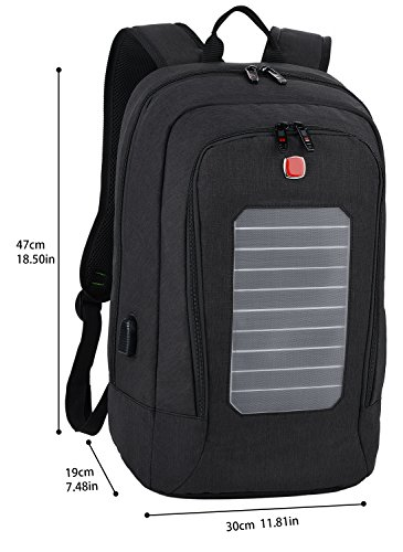 Laptop Backpack, Fanspack Solar Powered Backpack with USB Charging Port Waterproof Oxford Travel Backpack School Daypack for 15.6 inch Laptop and Notebook (Black) by Fanspack (Image #3)