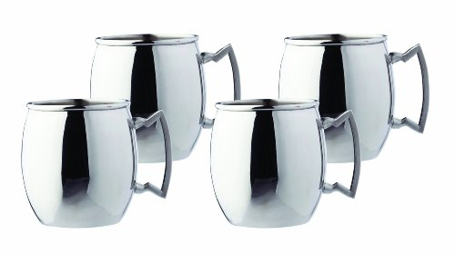 Steelii Stainless Steel Moscow Mule Mug with Stainless Steel Handle, 16-Ounce, Set of 4 by Old Dutch