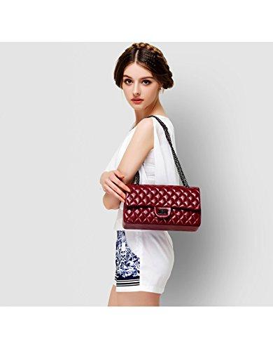 Quilted Genuine Hobo Bag Crossbody Shoulder Women's Leather Claret Purse Ainifeel Handbag qRptR