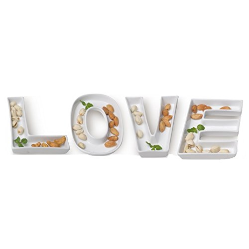 White Ceramic Letter Word Phrases Dish for Table Decoration, Love Gifttes