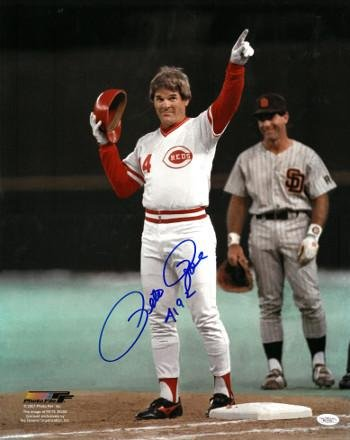 Autographed Pete Rose Photograph - 16x20 4192 Record Breaker imperfection Hologram - JSA Certified - Autographed MLB Photos