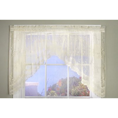 (Common Wealth Home Fashions Mona Lisa Jacquard Scalloped Lace Swags (Pair), 72 x 32 Eggshell, )