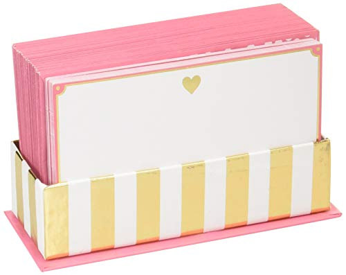 Graphique Gold Heart Flat Notes Stationery with Soft Pink Border and Gold Heart, 50 Note Cards and Matching Envelopes, 5.625