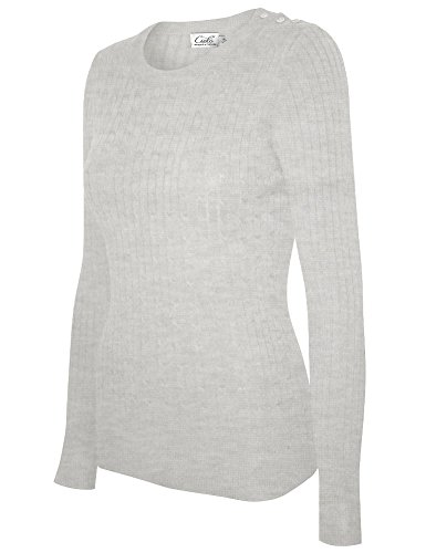 Cielo Women's Basic Solid Stretch Crewneck Cable Knit Pullover Sweater Heather Grey L