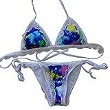 Europe The United States Fresh Sexy Lace Fashion Gradient Pattern Triangle Bag Bikini,Blue,L