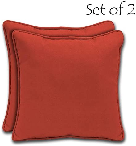 Comfort Classics Inc. Set of 2 Square Outdoor Throw Pillow with Welt 18 in. D x 18 in. W x 5.5 in. T. Polyester Fabric Ruby Solid