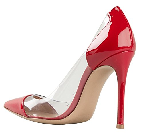 Guoar Womens Stiletto Heel Sandals Big Size Solid Shoes Pointed Toe Patent Pumps for Wedding Party Dress Red US10 m0E1Xm33
