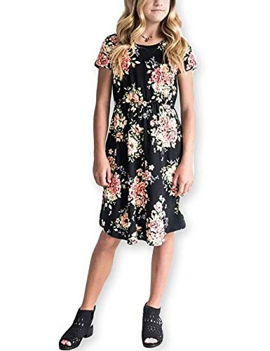 Girls Maxi Dress,Kids Floral Casual T-Shirt 3/4 Sleeve Dresses with Pocket for Girls 6-27T