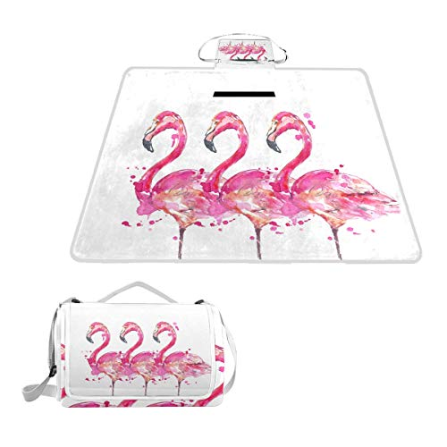 Dwellstudio Pad Changing - SLHFPX Pink Flamingo Bird Watercolor Waterproof Picnic Blanket Lawn Blanket Sandproof Beach Blanket Travel Tent BBQ Mat Camping Tote Layers Portable Family Size Handy Mat 57