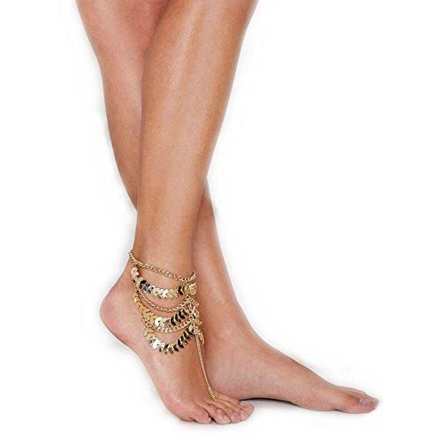 San Tokra One-piece Golden Multi-layer Foot Chain Ankle Bracelet Lace up Summer Gift Beach Nude Shoes