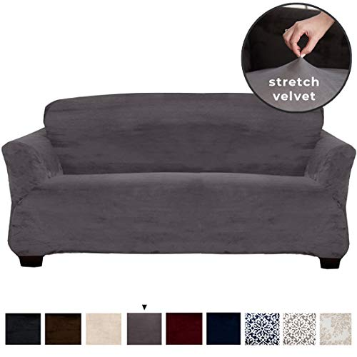 Great Bay Home Velvet Plush Stretch Sofa Slipcover. Velvet Sofa Couch Furniture Protector, Soft Anti-Slip, High Stretch for 3 Seat Sofa. (Sofa- 3 Seater, Wild Dove Grey) (3 Seater Chaise Lounge With)