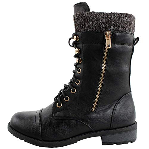 Forever Link Womens Mango-31 Round Toe Military Lace Up Knit Ankle Cuff Low Heel Combat Boots Pu Black