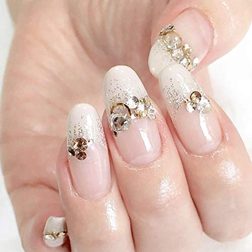 Drecode French False Nails Bling Rhinestone Full cover Fake Nails Tip Wedding Birthday Party Clip on Nails for Women and Girls