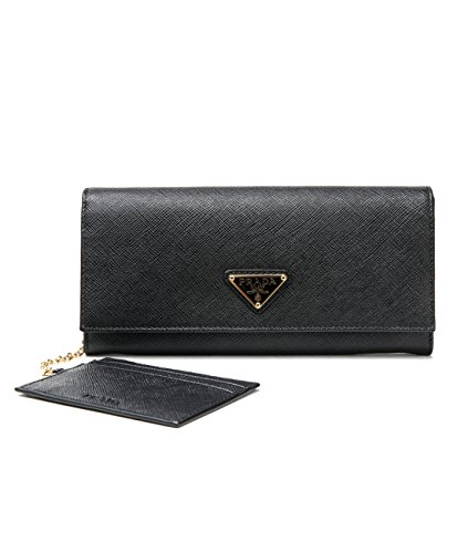 Wiberlux Prada Women's Gold Triangle Logo Detail Flap Real Leather Long Wallet