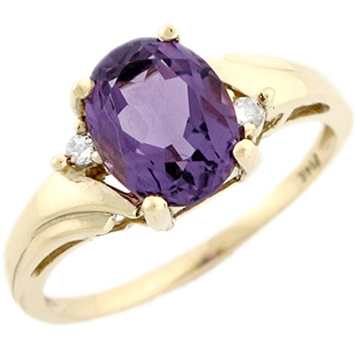14k Real Yellow Gold Amethyst & Diamond Beautiful Ladies Ring (Ladies Ring Amethyst Gold Fashion)