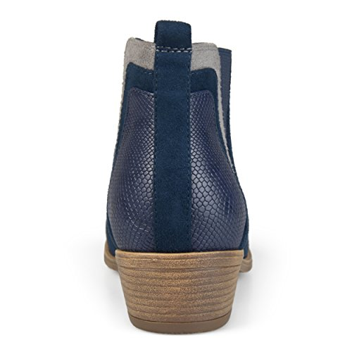 Journee Collection Mujeres Faux Snake Tacón Botines Azul