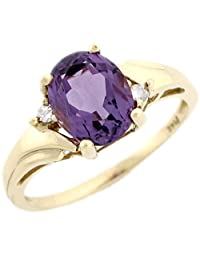10k Real Yellow Gold Amethyst & Diamond Beautiful Ladies Ring