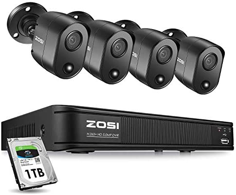 ZOSI 5MP 4 Channel Security Camera System Outdoor Indoor, H.265 Surveillance DVR with Hard Drive 1TB and 4 x 5MP Bullet Camera CCTV with PIR Motion Sensor,Remote Access