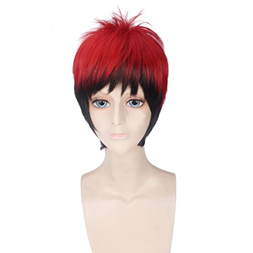 BERON Mixed Color Short Straight Cosplay Wig Costume Party Heat Resistant Hair Wigs(Black and Red)