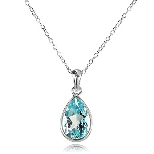 GemStar USA Sterling Silver Blue Topaz 12x8mm Bezel-Set Pear Teardrop Pendant Necklace