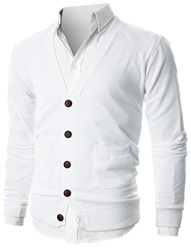- Ohoo Mens Slim Fit Ribbed Knit Cardigan With Pockets/DCC023-IVORY-XL