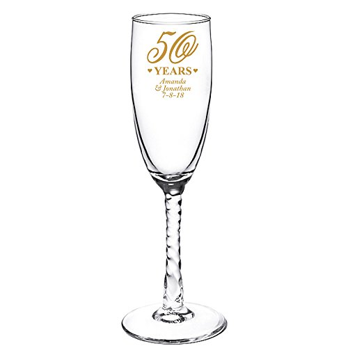 (Personalized Color Printed Twisted Stem Champagne Flute - 50th Anniversary - Gold - 48 pack)