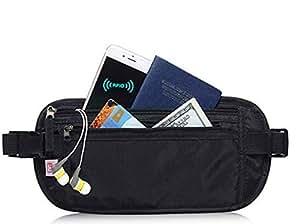 Travel Money Belt, Waist Wallet, Passport Holder for Men and Women, Stylish Fits Passport, Wallet, Phone and Personal Items, Running Belt and Waist Pack, Black,by Cloudin