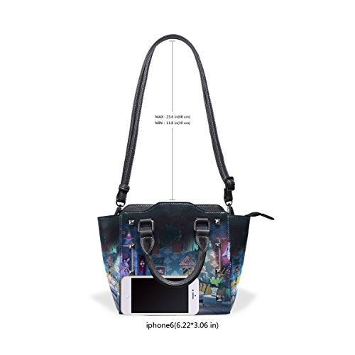 Seamless Wonderland Handbags Women BENNIGIRY In Alice Closure PU Leather Bag Shoulder Top Handle Zip PtaF8